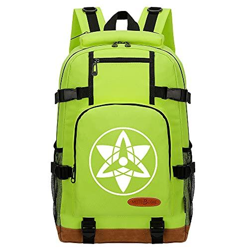 CXWLK Mochila Urban para Hombre Senderismo Trabajo con Bolsillo Backpack Mochila Hombres Mujer Bolso Mochila De Gran Capacidad,Naruto,Green,46cmX29cmX13cm