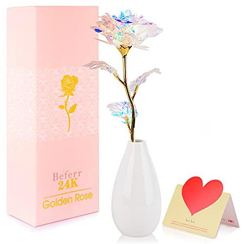 Beferr 24K Gold Vergoldete Rose mit Vase, Künstliche Infinity Rosen Blumen, Ewige Rose Geschenk für Sie Freundin Mutter Frau Frauen Partnerin Am Valentinstag Jubiläum Muttertag Geburtstag Weihnachten