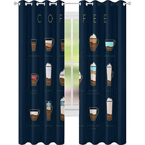 "YUAZHOQI - Cortinas opacas con texto en inglés ""Plano de café con tazas"", recetas y nombres de dibujo horizontales sobre fondo azul oscuro, 132 x 274 cm, cortinas decorativas para sala de estar"