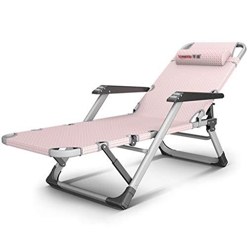 Chaises Longues Lit Sieste Divan Paresseux Chaise Longue sur Balcon Chaise Portable D'été Chaise Mate Respirante Peut Supporter 200 Kg Fauteuils et Chaises (Color : Pink, Size : 178 * 67 * 25cm)