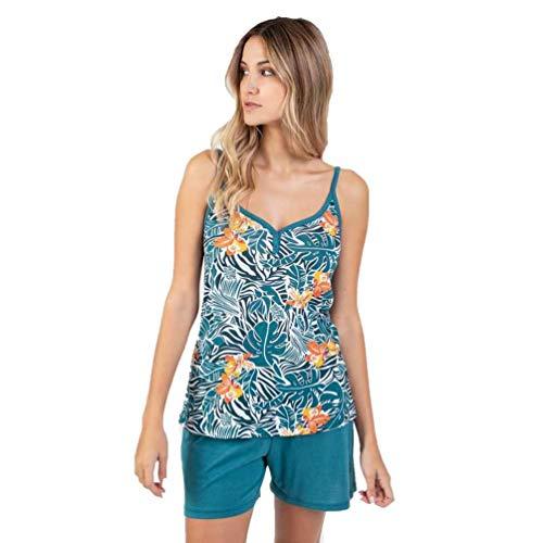 Massana Pijama de Tirantes Estampado Floral P211227 - Verde Agua, M