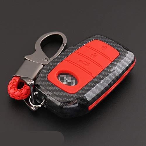 WYZXR 2 Juegos/Paquete de Fibra de Carbono Auto Car Key Case Cover/Car Smart Remote Control Key Case Cover/Car Key Protector Case/Car Key Shell (Rojo)