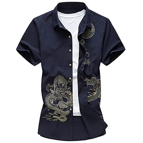 Camisa Hombre Slim Fit Botón Tapeta Bordado Hombre Camisa Casual Verano Personalidad Básica Impresión Manga Corta Hombre Camisa Tradicional Clásica Hombre Camisa Negocios