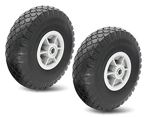 10' Flat Free Solid Tire Wheel,for Dolly Handtruck Cart,10' Flat Free Tires Air Less Tires Wheels with 5/8' Center - Solid Tire Wheel for Dolly Hand Truck Cart/All Purpose Utility Tire on Wheel