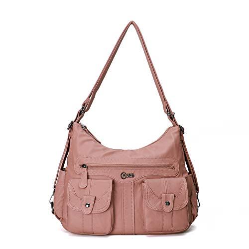 KL928 Tasche Damen Handtasche Umhängetaschen Damenhandtasche Schultertasche Lederhandtasche elegante Taschen hand taschen Henkeltaschen für frauen mit vielen fächern (PINK 0107)