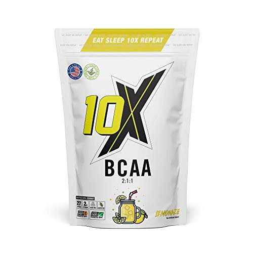 10X Athletic BCAA, Branched Chain Amino Acids, Sugar Free, Vegan, Low Calorie, Informed Sport with Added Glutamine, Lemonaze, 247g
