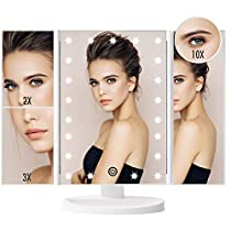 FASCINATE Espejo Maquillaje con Luz, Espejo de Mesa Tríptica Espejo con Aumentos 10x, 3X, 2X, 1x Iluminacíon 21 Led