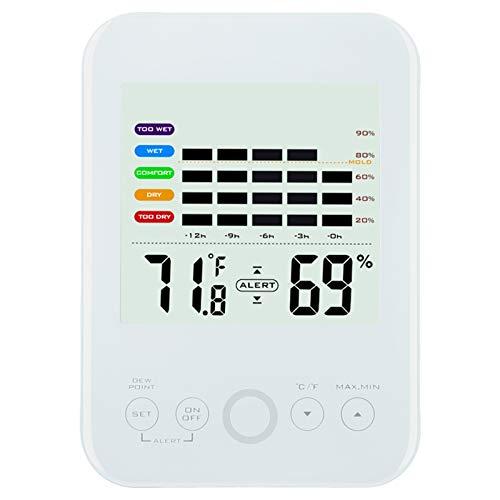 Termohigrómetro de pantalla táctil digital digital digital para medición de temperatura y humedad