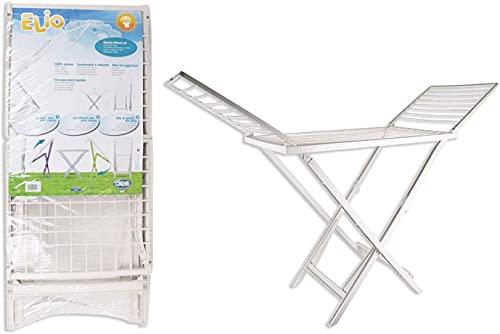 Tendedero Plegable de Resina con alas, 20 Metros de Espacio de tendido. Soporte para Tender la Ropa en Interior o Exterior, 172 x 220 x 50,5 cm (Blanco)