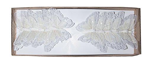Yucheng Schmetterling Bunte Schmetterlinge aus Federn bemalt, im 12er Set, Floristikbedarf Frühling/Sommer Gartenparty (WeissFeder)