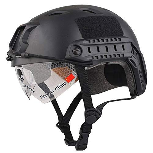 LIZHOUMIL Casco para airsoft, casco protector para airsoft, paintball, casco de protección PJ tipo Fast con gafas, ligero casco táctico para exterior, airsoft, paintball, CS Game negro