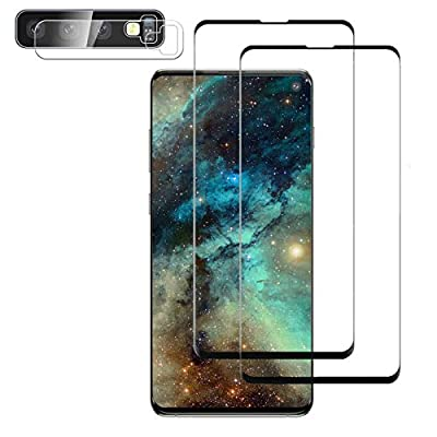 Galaxy S10 Screen Protector, (2-Pack) 9H Tempered Glass Include a Camera Lens Protector,Ultrasonic Fingerprint Compatible,HD Clear,3D Curved for Samsung S10 Glass Screen Protector