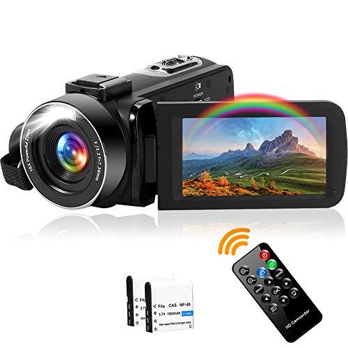 Videocamera Videocamere 2,7K 42 MP Videocamera Zoom Digitale 18X, con Luce Di Riempimento a LED...