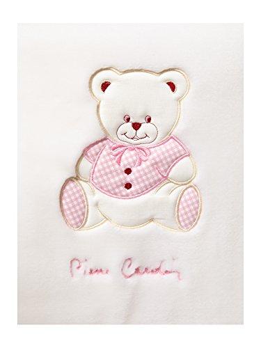 Pierre Cardin bordado manta para bebé oso rosa rosa Talla:110x140 cm Approx.