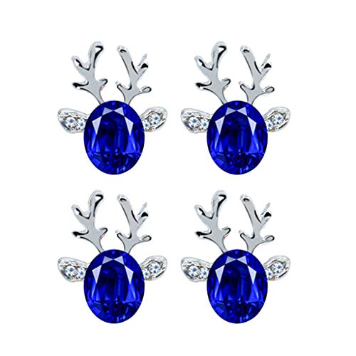 ErYao Women Christmas Antlers Earrings, Elegant Crystal Gemstone Reindeer Studs Earrings 3D Jewelry Accessories for Girls, 2 Pairs (Blue)