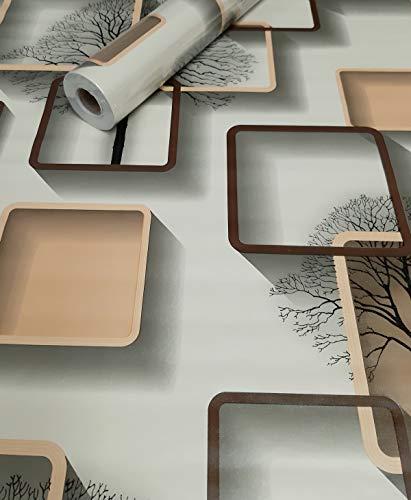 Visario Tapeten Folie 3000-S selbstklebend 3D Formen Baum 10 m x 45 cm Dekorfolie Möbelfolie Tapete 3046
