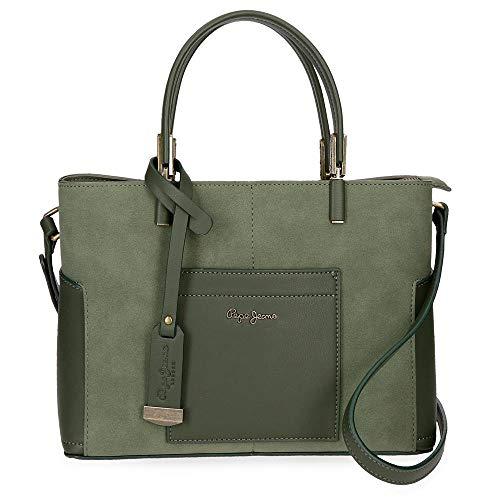 Pepe Jeans Lorain Handtasche Grün 25x21x11 cms Synthetisches Leder
