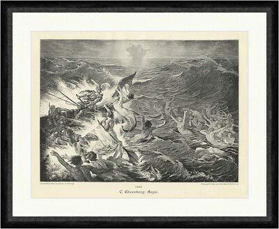 Kunstdruck Aegir C. Ehrenberg germanische nordische Mythologie Meer Sturm Faksimile_A 2210