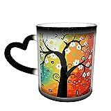 Oaieltj Tazas divertidas que cambian de calor, árbol del dinero abstracto Las pinturas personalizadas, sensible al calor, color cambiante, taza de té de leche, tazas de café mágicas
