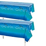 Fun Express Awesome Shark Tablecloth 54' x 108' Pool Party, Disposable Décor (2 Pack)