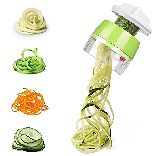 ZHOUSTOU Spiralizzatore di Verdure 4 in 1 Spaghetti di Zucchine Attrezzo Manuale Affetta Verdure Manuale Adatto per Zucchine, Carote, Cetrioli, Patate