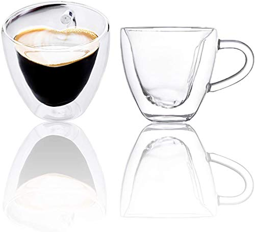 Set di 2 tazze da caffè Chase Chic in vetro a doppia parete, termoisolante, a forma di cuore con manico