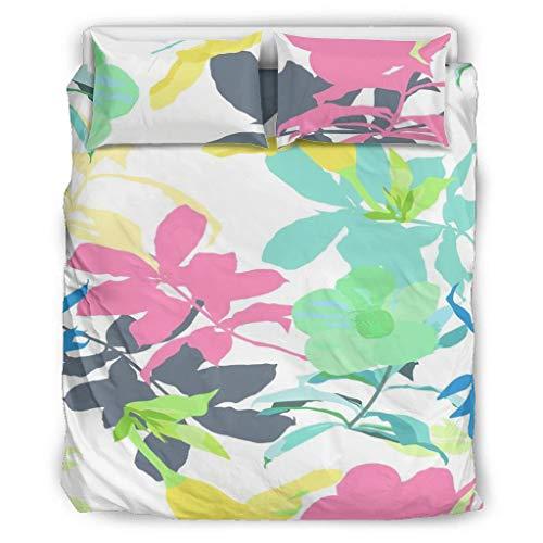 O5KFD&8 Pflanze Blume Tagesdecken-Tröster-Set Premium 3-teilig Bettbezüge - Weich und Bequem Boho Bettwäscheset King Size White 264x229cm