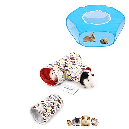 2 Pcs Small Animal Tube, Guinea Pig Hideaway Play Tunnel & Small Animals C&C Cage Tent, Breathable & Transparent Pet Playpen Pop Open Outdoor/Indoor Exercise Fence, Portable Yard Fence for Guinea Pig