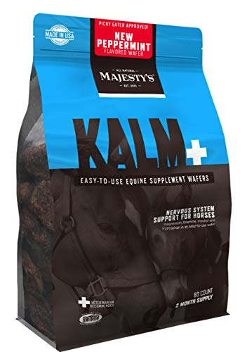 Majesty's Kalm+ Peppermint Wafers - Horse/Equine Balanced Behavior & Nervous System Function Supplement - Tryptophan, Vitamin B1 - Calming, Eases Anxiety/Fear/Anger - 2 Month Supply (1 Bag/60 Count)