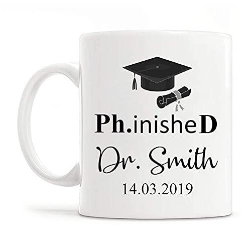 Taza de café PhinisheD personalizada, taza de doctor PhD, nueva taza de doctor, regalo de graduación de doctorado personalizado, regalo de doctorado, regalo para doctores, regalos de doctorado persona
