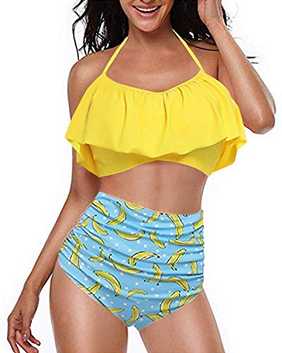 Kidsform Maillot de Bain 2 Pièces Femme Grande Taille Dos Nu Chic Tankinis Push Up Taille Haute Floral Slim Bikini...