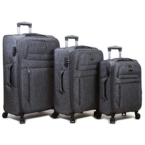 Dejuno Aurora Lightweight Denim 3-Piece Spinner Luggage Set, Black