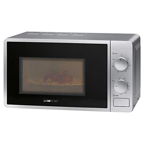 Clatronic MWG 792 Mikrowelle mit Grill / 700 W Mikrowellen- + 800 W Grillleistung / 30 Minuten-Timer mit Endsignal / Garraumbeleuchtung / silber