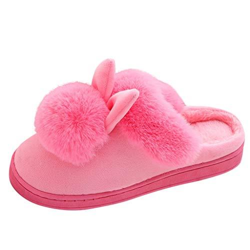 Harpily Pantofole Donna Invernali Peloso Caldo con Orecchie di Coniglio Pantofole da Casa Interno Comfort Morbido Scarpe Divertente Antiscivolo per calzatur (38-39 EU, Rosa)