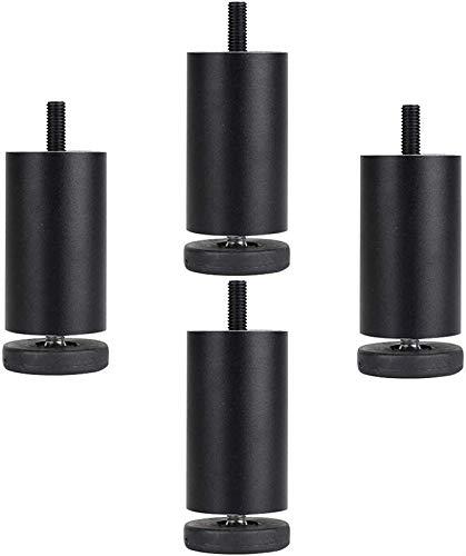 XBCDX 4 Patas Ajustables de Metal para Mesa de Escritorio, Patas de aleación de Aluminio para Muebles, Patas de Repuesto para Mesa de Centro, sofá Cama, Soporte para pies de Escritorio, negro-20cm