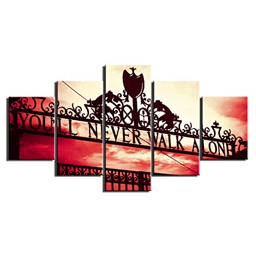 Canvas Art Wall Decor Football Club - You'll Never Walk Alone Picture Poster Framed Artwork 5 Piece Wall Art Room Decoration Ready to Hang(60''Wx32''H)