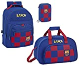 FC Barcelona - Mochila de deporte y estuche para lápices, 3 compartimentos