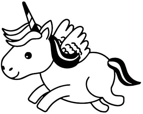 JZLMF 2 unidades de pegatinas de unicornio de dibujos animados para decoración de coche, pegatinas de vinilo para scooter, accesorios plateados, 16,2 cm x 12,7 cm