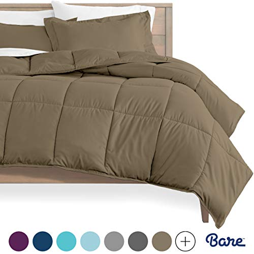 Bare Home Kids Comforter Set - Twin/Twin Extra Long - Goose Down Alternative - Ultra-Soft - Premium 1800 Series - Hypoallergenic - All Season Breathable Warmth (Twin/Twin XL, Taupe)