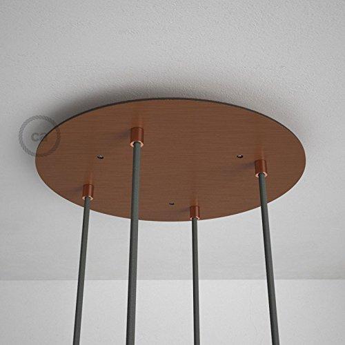 Rosace XXL ronde 35cm à 4 trous cuivre satiné avec les accessoires.