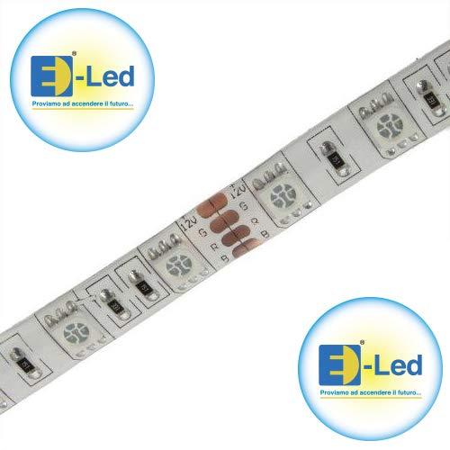 E-lED Kit promo 5 mt LED RGB SMD5050 12 VDC + Contrôleur IR Max 144 W strip IP54