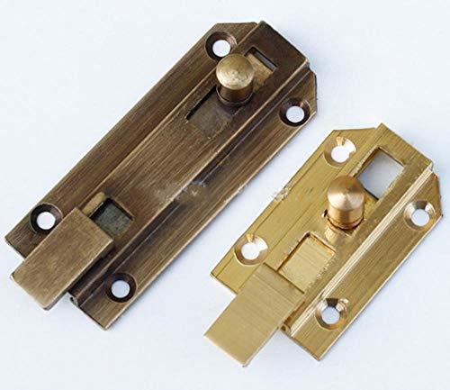 Pestillo de puerta de cobre puro, pestillo de puerta y ventana, hebilla de puerta de cerradura, perno de puerta, cerradura de pasador de puerta antigua-6CM bronce