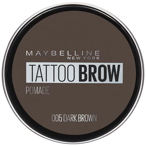 Maybelline New York Tattoo Brow Pomade Pot Cera per Sopracciglia Pigmentata Effetto Matte, Tenuta fino a 24h, Resistente all Acqua, 05 Dark Brown