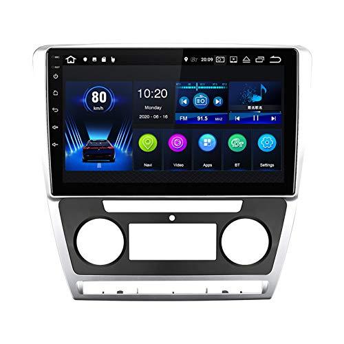 Estéreo del coche radio de navegación por satélite FM AM Reproductor multimedia Android 10.0 Autoradio Pantalla táctil Navegación GPS para Skoda Octavia 2 A5 2008-20113 Soporte Blue(Color:WiFi 2G+32G)