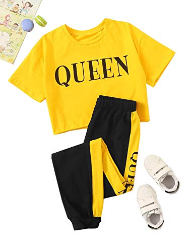Floerns Girls 2 Piece Letter Graphic Short Sleeve Crop Top and Legging Set Yellow and Black 11-12Y