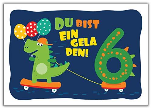 12 Einladungskarten zum 6. Kindergeburtstag Jungen Jungs Dinosaurier Einladungen sechste Geburtstag Kinder