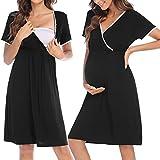 HOTLOOX Damen Stillnachthemd Geburt Kurz Nachthemd Stillfunktion, Nachtwäsche Umstandsmode für Schwangere Geburtskleid, Schwarz M