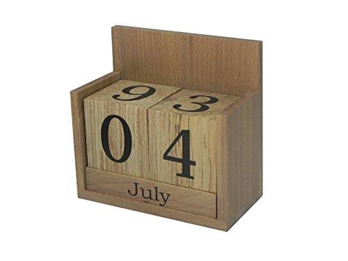 Kalendarz wieczny z litego drewna bukowego – blat biurka biuro wieczne drewniane klocki dekoracja prezent urodzinowy