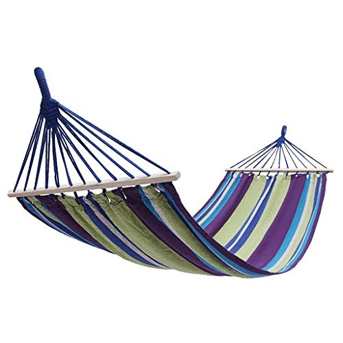 Hammock OutdoorSwing, Wooden Stick, To Prevent Rollover, Both Ends Reinforced Wear-resistant Outdoor Indoor Hanging Chair 200 * 100cm Purple Yellow Stripes Hammock