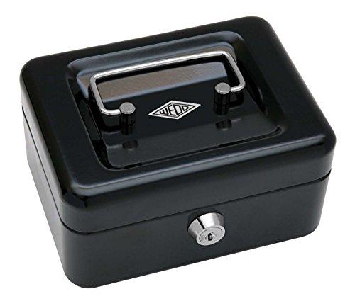 Wedo 145121X Geldkassette (aus pulverbeschichtetem Stahl, versenkbarer Griff, 4 -Fächer-Münzeinsatz, Sicherheits-Zylinderschloss, 15,2 x 11,5 x 8,0 cm) schwarz
